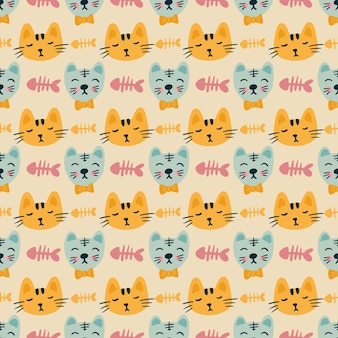 Esquisse d'un bonefish de chat avec des icônes et la couleur des éléments de conception