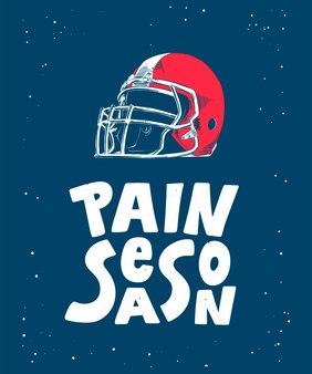 Esquisse d'un casque de football américain, lettrage