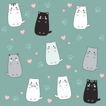 Esquisse de dessin animé mignon chat avec amour