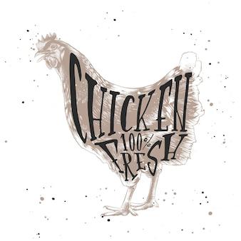Esquisse du poulet ou de la poule de la ferme, style linogravure