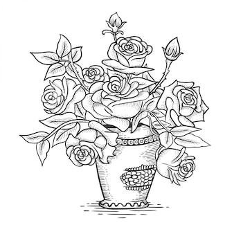 Esquisse de fleurs roses dans un pot
