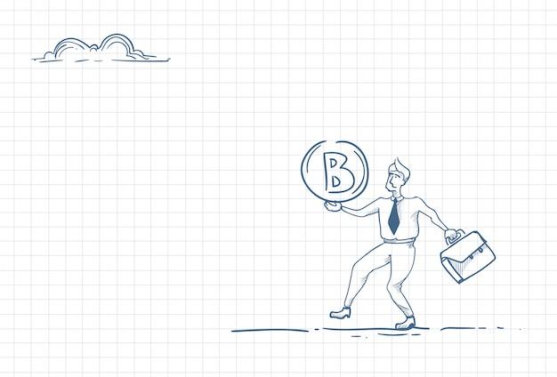 Esquisse d'un homme tenant une crypto-monnaie