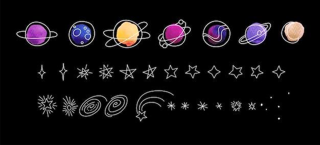 Esquisse moderne sur fond noir. illustration vectorielle de dessin au trait dessinés à la main. planètes et étoiles