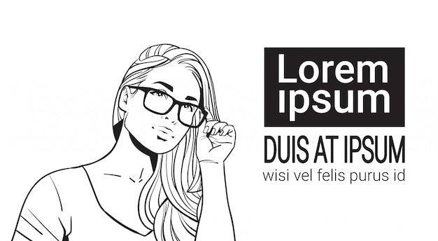Esquisse portrait de belle femme portant des lunettes jolie femme aux cheveux longs