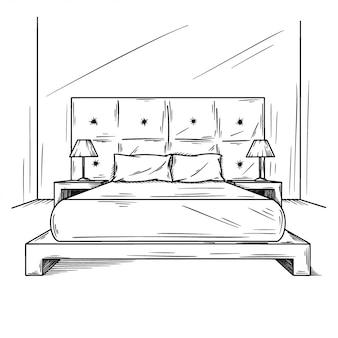 Esquisse réaliste de la chambre à coucher.
