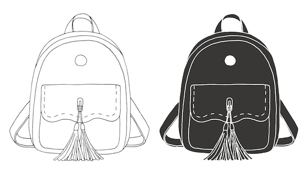 Esquisse d'un sac à dos. illustration d'un style d'esquisse.