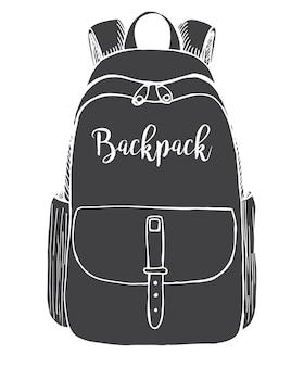 Esquisse d'un sac à dos. sac à dos isolé sur fond blanc. illustration vectorielle d'un style de croquis.