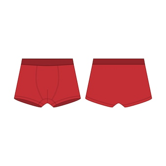 Esquisse technique du boxer. sous-vêtements boxers rouges pour garçons