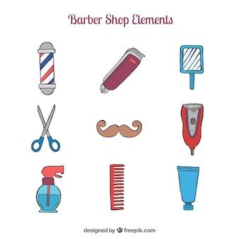 Esquisses collection d'accessoires de salon de coiffure