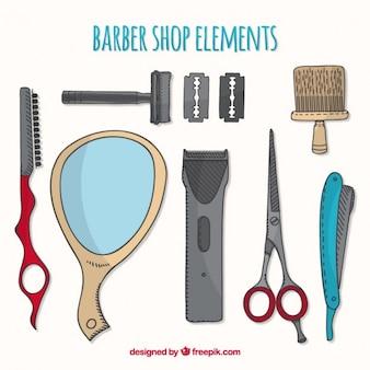 Esquisses collection d'éléments de coiffure