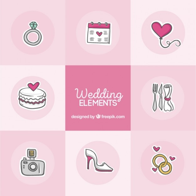 Esquisses éléments mignons de mariage