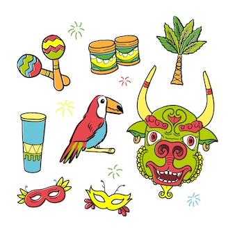Esquisses éléments typiques de carnaval