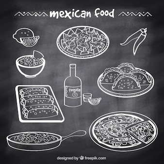 Esquisses nourriture mexicaine typique dans le style tableau noir