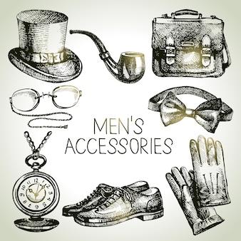 Esquissez les accessoires pour messieurs. ensemble d'illustrations d'hommes dessinés à la main