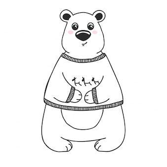 Esquissez un animal mignon. ours dans un style doodle.
