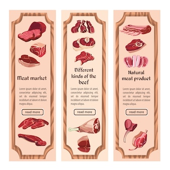 Esquissez des bannières verticales de viande colorée