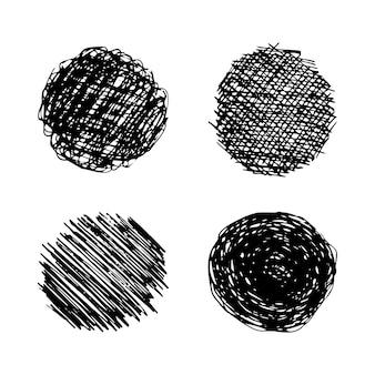 Esquissez le frottis de gribouillage. ensemble de quatre dessins au crayon noir en forme de cercle sur fond blanc. grand design à toutes fins utiles. illustration vectorielle.