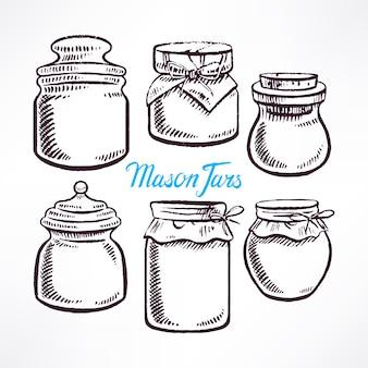 Esquissez des pots mason de différentes formes