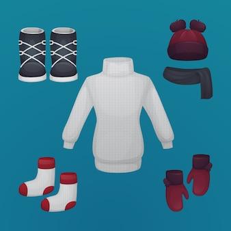 Essentiels et vêtements d'hiver dessinés à la main