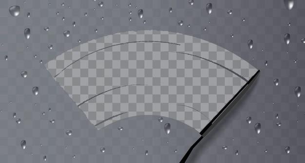 L'essuie-glace nettoie la vitre. pluie et neige sur fond transparent.