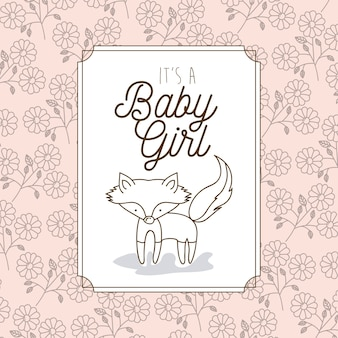 C'est un cadre de bébé fille avec renard
