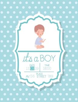 C'est une carte de douche de bébé avec petit enfant