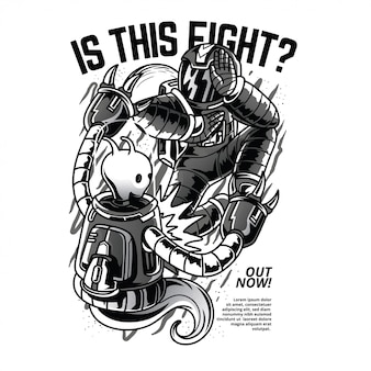 C'est le combat? illustration noir et blanc