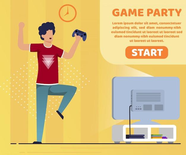 Est écrit game party cartoon flat.