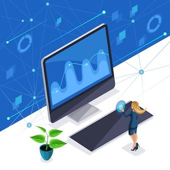 Est une femme élégante, une belle femme d'affaires gère un écran virtuel, un écran plasma, une femme intelligente utilise la technologie de pointe