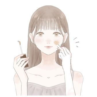 C'est une femme qui se met du cache-cernes sur le visage.