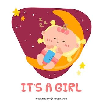 C'est un fond de fille avec bébé qui dort sur la lune