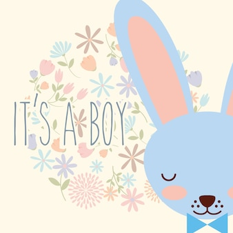 C'est un garçon bleu visage lapin avec des fleurs à l'arc