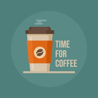 C'est l'heure du café. tasse à café. illustration de tasse de café.