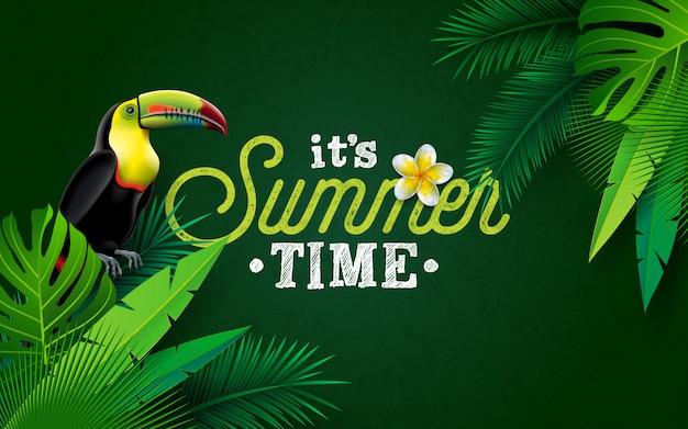 C'est l'heure de l'été avec une fleur et un oiseau toucan