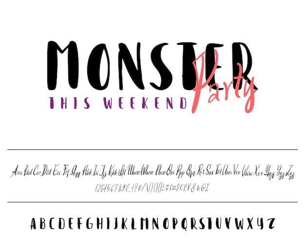 C'est une illustration vectorielle de fête monstre bannière ensemble de caractères dessinés à la main isolé sur blanc