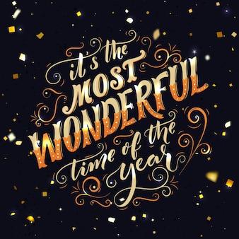 C'est le moment le plus merveilleux de l'année lettrage à la main carte de voeux de typographie avec texte en or