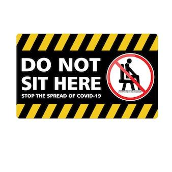C'est ne pas s'asseoir ici autocollant et signe vecteur