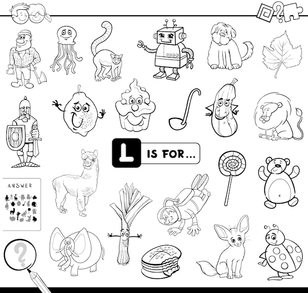 L est pour le livre de coloriage de jeu éducatif