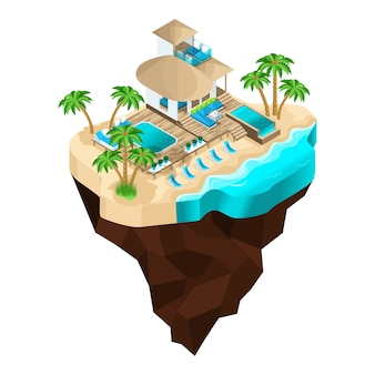 Est un séjour de luxe sur une île fabuleuse, un beau bungalow moderne pour l'accueil des invités. vacances d'été aux maldives