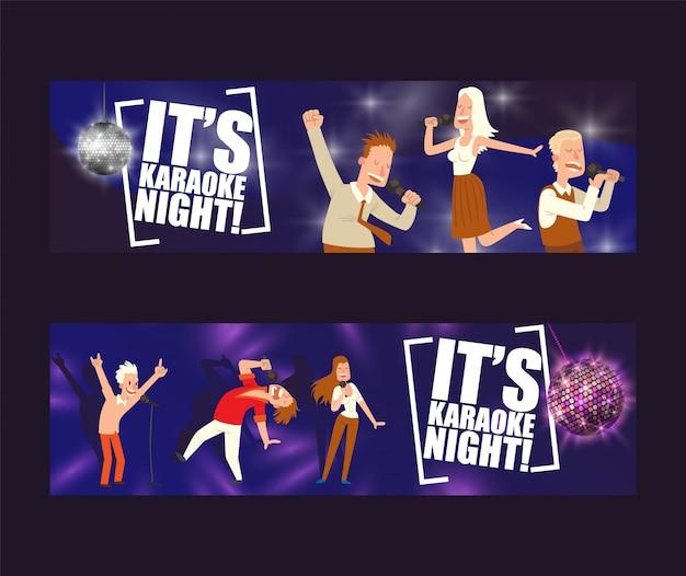 C'est une soirée karaoké dans un ensemble d'illustrations.