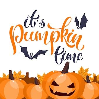 C'est le temps des citrouilles. texte écrit à la main d'halloween. conception pour impression, affiche, invitation, t-shirt. illustration vectorielle