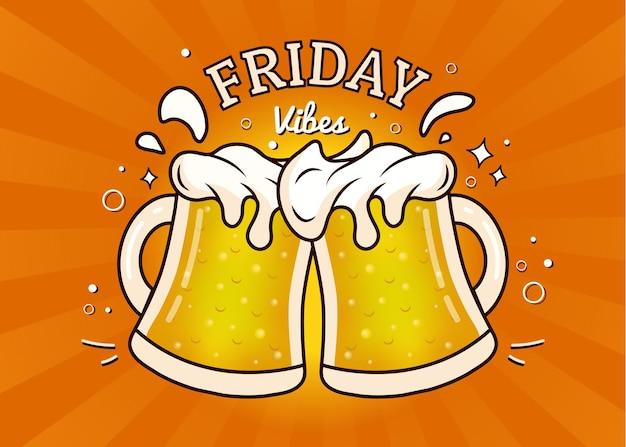 C'est vendredi les acclamations avec des chopes pleines de bière