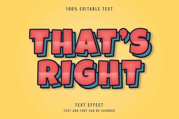 C'est vrai, effet de texte modifiable dégradé rouge style de texte des couches de bande dessinée bleue
