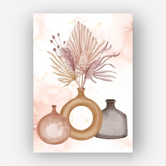 Esthétique boho flower vase aquarelle papier peint