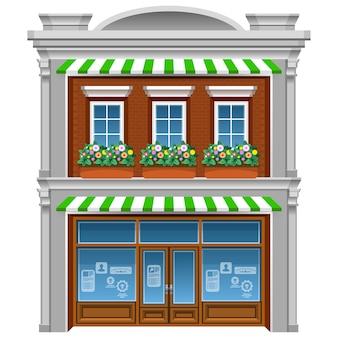 Étage maison avec des fleurs sous fenêtres. dessin animé.