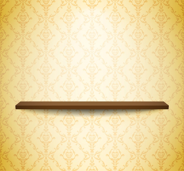 Étagère en bois au mur