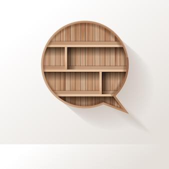 Étagère en bois de conception créative de bulle de discours