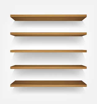 Étagère en bois sur fond blanc