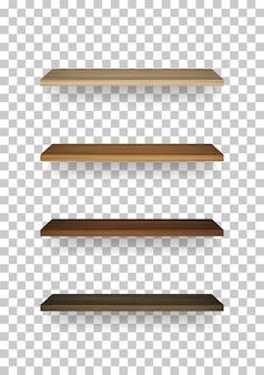 Étagère en bois sur fond transparent
