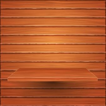Étagère en bois sur mur en bois